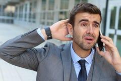 Επιχειρηματίας που φωνάζει στο τηλέφωνο Στοκ Εικόνα