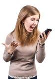 επιχειρηματίας που φωνάζει στο smartphoneη Στοκ φωτογραφία με δικαίωμα ελεύθερης χρήσης