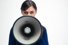 Επιχειρηματίας που φωνάζει megaphone Στοκ φωτογραφίες με δικαίωμα ελεύθερης χρήσης