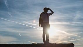 Επιχειρηματίας που χαιρετίζει τον ήλιο ρύθμισης στοκ εικόνα
