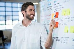 Επιχειρηματίας που χαμογελά δείχνοντας στην κολλώδη σημείωση Στοκ Εικόνες