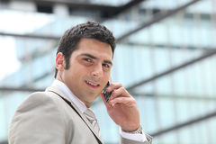 Επιχειρηματίας που χρησιμοποιεί ένα κινητό τηλέφωνο στοκ εικόνες με δικαίωμα ελεύθερης χρήσης