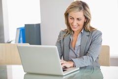 Επιχειρηματίας που χρησιμοποιεί ένα lap-top σε ένα γραφείο Στοκ Εικόνες