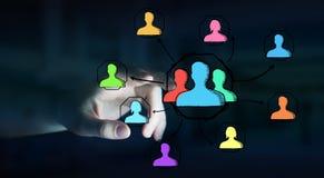 Επιχειρηματίας που χρησιμοποιεί συρμένο το χέρι κοινωνικό δίκτυο Στοκ Εικόνες