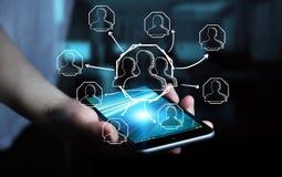 Επιχειρηματίας που χρησιμοποιεί συρμένο το χέρι κοινωνικό δίκτυο Στοκ εικόνες με δικαίωμα ελεύθερης χρήσης