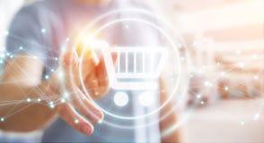 Επιχειρηματίας που χρησιμοποιεί τα ψηφιακά εικονίδια αγορών με το τρισδιάστατο ren συνδέσεων Στοκ Εικόνες