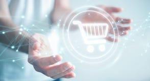 Επιχειρηματίας που χρησιμοποιεί τα ψηφιακά εικονίδια αγορών με το τρισδιάστατο ren συνδέσεων Στοκ Εικόνα