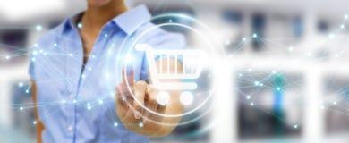 Επιχειρηματίας που χρησιμοποιεί τα ψηφιακά εικονίδια αγορών με το τρισδιάστατο ren συνδέσεων Στοκ εικόνες με δικαίωμα ελεύθερης χρήσης