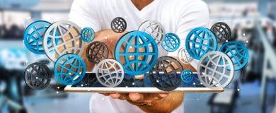 Επιχειρηματίας που χρησιμοποιεί τα ψηφιακά εικονίδια '3D Ιστού rendering' Στοκ φωτογραφία με δικαίωμα ελεύθερης χρήσης