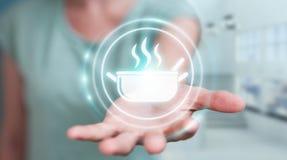 Επιχειρηματίας που χρησιμοποιεί την εφαρμογή για να διαταχτούν τα κατ' οίκον γίνοντα τρόφιμα on-line 3 Στοκ Εικόνες