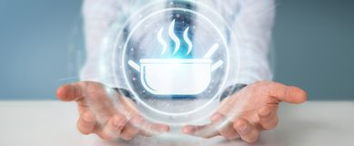 Επιχειρηματίας που χρησιμοποιεί την εφαρμογή για να διαταχτούν τα κατ' οίκον γίνοντα τρόφιμα σε απευθείας σύνδεση τρισδιάστατος Στοκ Εικόνα