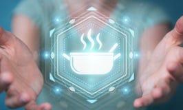 Επιχειρηματίας που χρησιμοποιεί την εφαρμογή για να διαταχτούν τα κατ' οίκον γίνοντα τρόφιμα on-line 3 Στοκ εικόνα με δικαίωμα ελεύθερης χρήσης