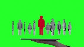 Επιχειρηματίας που χρησιμοποιεί την ταμπλέτα στο ολόγραμμα άποψης ελεύθερη απεικόνιση δικαιώματος