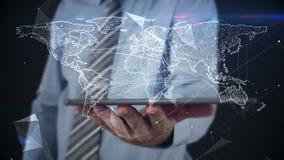 Επιχειρηματίας που χρησιμοποιεί την ταμπλέτα στο ολόγραμμα άποψης διανυσματική απεικόνιση