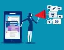 Επιχειρηματίας που χρησιμοποιεί την τεχνολογία smartphone για το μάρκετινγκ και netw απεικόνιση αποθεμάτων