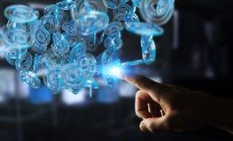 Επιχειρηματίας που χρησιμοποιεί την ψηφιακή μπλε σφαίρα arobase για να κάνει σερφ στο interne Στοκ φωτογραφία με δικαίωμα ελεύθερης χρήσης