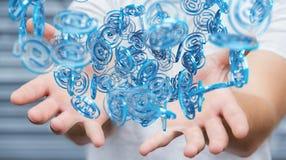 Επιχειρηματίας που χρησιμοποιεί την ψηφιακή μπλε σφαίρα arobase για να κάνει σερφ στο interne Στοκ Εικόνα