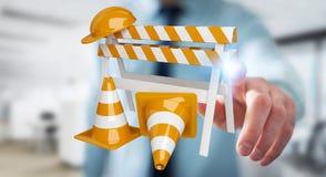 Επιχειρηματίας που χρησιμοποιεί την ψηφιακή τρισδιάστατη απόδοση κάτω από τα σημάδια κατασκευής Στοκ εικόνες με δικαίωμα ελεύθερης χρήσης