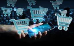 Επιχειρηματίας που χρησιμοποιεί την ψηφιακή τρισδιάστατη απόδοση εικονιδίων αγορών Στοκ εικόνες με δικαίωμα ελεύθερης χρήσης