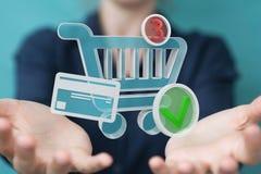 Επιχειρηματίας που χρησιμοποιεί την ψηφιακή τρισδιάστατη απόδοση εικονιδίων αγορών Στοκ Εικόνα
