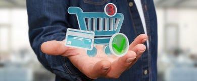 Επιχειρηματίας που χρησιμοποιεί την ψηφιακή τρισδιάστατη απόδοση εικονιδίων αγορών Στοκ Φωτογραφία