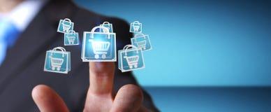 Επιχειρηματίας που χρησιμοποιεί την ψηφιακή τρισδιάστατη απόδοση εικονιδίων αγορών Στοκ φωτογραφία με δικαίωμα ελεύθερης χρήσης