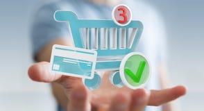 Επιχειρηματίας που χρησιμοποιεί την ψηφιακή τρισδιάστατη απόδοση εικονιδίων αγορών Στοκ φωτογραφίες με δικαίωμα ελεύθερης χρήσης