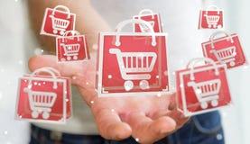 Επιχειρηματίας που χρησιμοποιεί την ψηφιακή τρισδιάστατη απόδοση εικονιδίων αγορών Στοκ Εικόνες