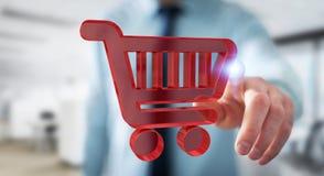 Επιχειρηματίας που χρησιμοποιεί την ψηφιακή τρισδιάστατη απόδοση εικονιδίων αγορών Στοκ εικόνα με δικαίωμα ελεύθερης χρήσης