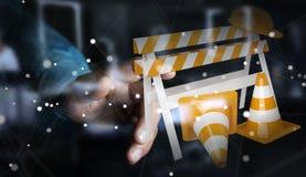 Επιχειρηματίας που χρησιμοποιεί την ψηφιακή τρισδιάστατη απόδοση κάτω από τα σημάδια κατασκευής Στοκ φωτογραφία με δικαίωμα ελεύθερης χρήσης