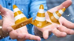 Επιχειρηματίας που χρησιμοποιεί την ψηφιακή τρισδιάστατη απόδοση κάτω από τα σημάδια κατασκευής Στοκ Φωτογραφίες