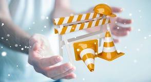 Επιχειρηματίας που χρησιμοποιεί την ψηφιακή τρισδιάστατη απόδοση κάτω από τα σημάδια κατασκευής Στοκ εικόνα με δικαίωμα ελεύθερης χρήσης