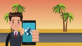 Επιχειρηματίας που χρησιμοποιεί τη θέση app από τη ζωτικότητα smartphone HD απεικόνιση αποθεμάτων