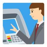 Επιχειρηματίας που χρησιμοποιεί τη μηχανή του ATM Η διανυσματική απεικόνιση τετραγωνικό icone ατόμων απομόνωσε το άσπρο υπόβαθρο Στοκ εικόνα με δικαίωμα ελεύθερης χρήσης