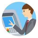 Επιχειρηματίας που χρησιμοποιεί τη μηχανή του ATM Η διανυσματική απεικόνιση των ανθρώπων γύρω από icone απομόνωσε το άσπρο υπόβαθ Στοκ φωτογραφία με δικαίωμα ελεύθερης χρήσης