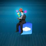 Επιχειρηματίας που χρησιμοποιεί τη συνεδρίαση ταμπλετών app σύννεφων στο εικονίδιο με την τεχνολογία Στοκ φωτογραφία με δικαίωμα ελεύθερης χρήσης