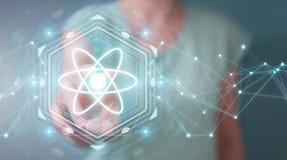 Επιχειρηματίας που χρησιμοποιεί τη σύγχρονη τρισδιάστατη απόδοση δομών μορίων Στοκ φωτογραφίες με δικαίωμα ελεύθερης χρήσης