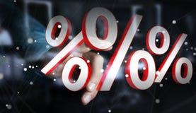 Επιχειρηματίας που χρησιμοποιεί τις άσπρες και κόκκινες πωλήσεις που πετούν την τρισδιάστατη απόδοση εικονιδίων Στοκ φωτογραφία με δικαίωμα ελεύθερης χρήσης