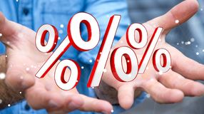 Επιχειρηματίας που χρησιμοποιεί τις άσπρες και κόκκινες πωλήσεις που πετούν την τρισδιάστατη απόδοση εικονιδίων Στοκ Εικόνες