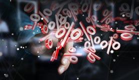 Επιχειρηματίας που χρησιμοποιεί τις άσπρες και κόκκινες πωλήσεις που πετούν την τρισδιάστατη απόδοση εικονιδίων Στοκ εικόνα με δικαίωμα ελεύθερης χρήσης
