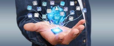 Επιχειρηματίας που χρησιμοποιεί τις σύγχρονες ψηφιακές εφαρμογές Στοκ Εικόνα