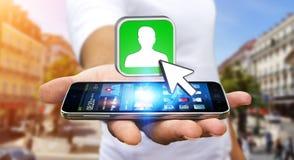 Επιχειρηματίας που χρησιμοποιεί το σύγχρονο κοινωνικό δίκτυο Στοκ Εικόνες