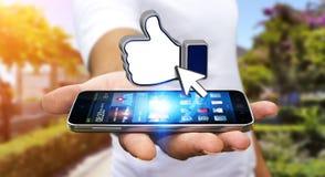 Επιχειρηματίας που χρησιμοποιεί το σύγχρονο κοινωνικό δίκτυο Στοκ φωτογραφία με δικαίωμα ελεύθερης χρήσης