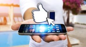 Επιχειρηματίας που χρησιμοποιεί το σύγχρονο κοινωνικό δίκτυο Στοκ Εικόνα