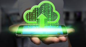 Επιχειρηματίας που χρησιμοποιεί το σύννεφο Στοκ Εικόνες