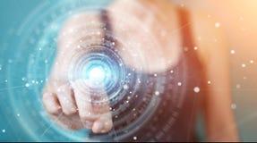 Επιχειρηματίας που χρησιμοποιεί το τρισδιάστατο rend διεπαφών σύνδεσης ψηφιακών δικτύων Στοκ Εικόνες