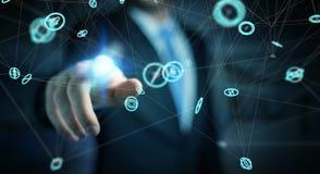 Επιχειρηματίας που χρησιμοποιεί το τρισδιάστατο renderi διεπαφών σύνδεσης δικτύων πετάγματος Στοκ φωτογραφίες με δικαίωμα ελεύθερης χρήσης