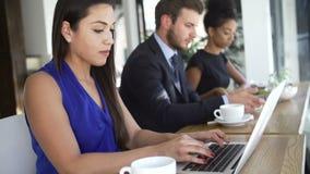 Επιχειρηματίας που χρησιμοποιεί το lap-top στη καφετερία απόθεμα βίντεο