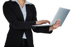 Επιχειρηματίας που χρησιμοποιεί το lap-top στο άσπρο κλίμα Στοκ Εικόνες