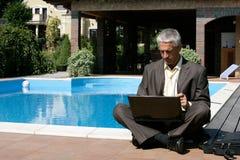 Επιχειρηματίας που χρησιμοποιεί το lap-top Στοκ φωτογραφία με δικαίωμα ελεύθερης χρήσης